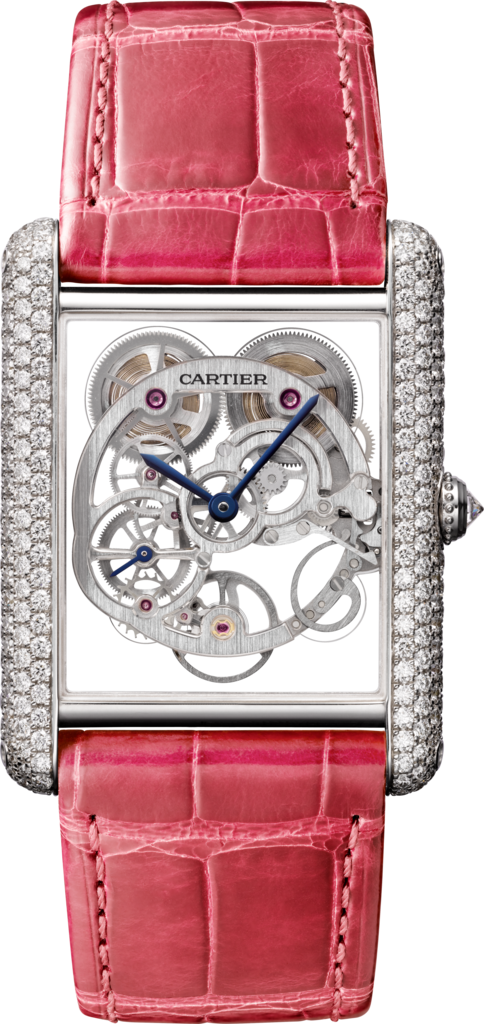 Tank Louis Cartier watchXL model, rhodiumized white gold, diamonds