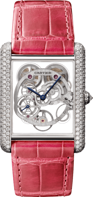 Tank Louis Cartier watch XL model, rhodiumized white gold, diamonds
