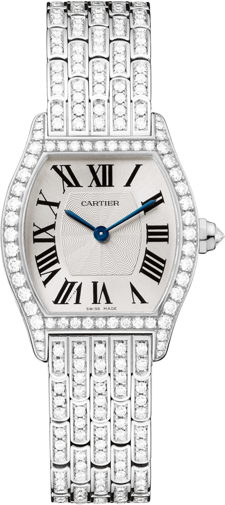 Tortue watchSmall model, rhodiumized 18K white gold, diamonds