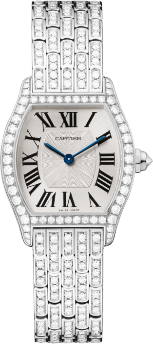 Tortue watch Small model, rhodiumized 18K white gold, diamonds