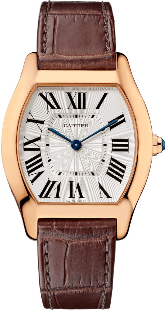 Tortue watchMedium model, pink gold, leather