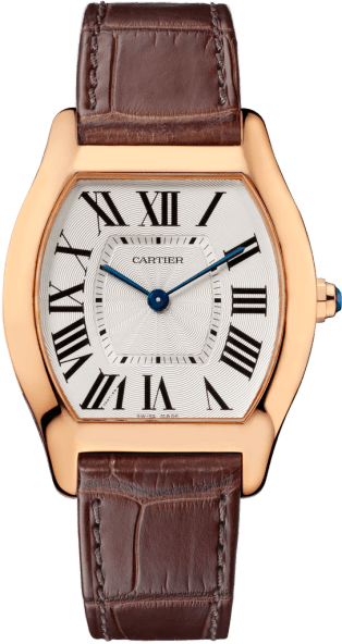 Tortue watch Medium model, pink gold, leather