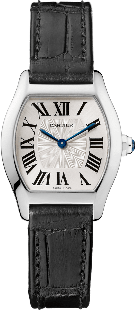 Tortue watchSmall model, rhodiumized 18K white gold, leather