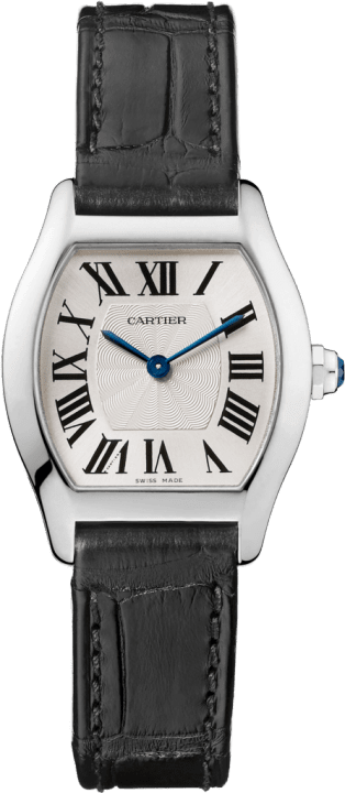Tortue watch Small model, rhodiumized 18K white gold, leather