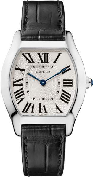 Tortue watch Medium model, rhodiumized 18K white gold, leather
