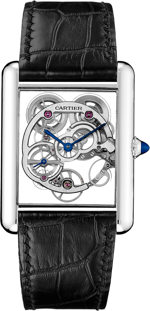 Tank Louis Cartier Skeleton Sapphire watchXL, manual, white gold
