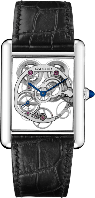 Tank Louis Cartier Skeleton Sapphire watch XL, manual, white gold