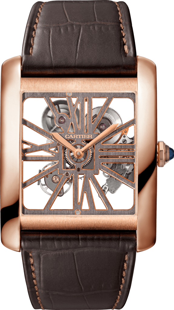 Tank MC Skeleton watchLarge model, hand-wound mechanical movement, rose gold, leather