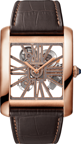 Tank MC Skeleton watch Large model, hand-wound mechanical movement, rose gold, leather