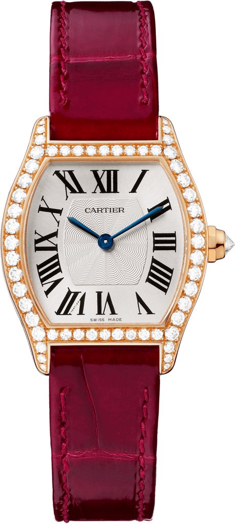 Tortue watchSmall model, hand-wound mechanical movement, rose gold, diamonds, leather