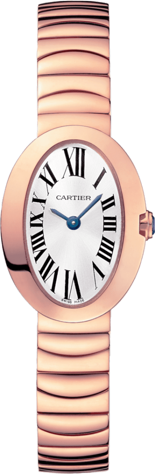 Tortue watch Small model, hand-wound mechanical movement, rose gold, diamonds, leather