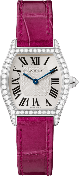 Tortue watch Small model, rhodium-finish white gold, diamonds, leather