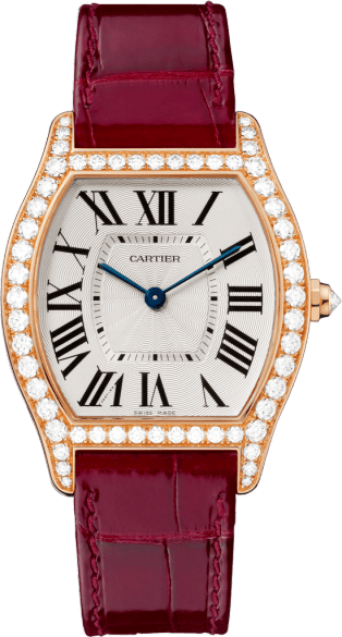 Tortue watch Medium model, hand-wound mechanical movement, rose gold, diamonds