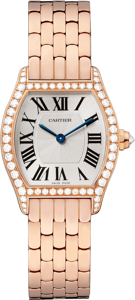 Tortue watchSmall model, 18K pink gold, diamonds