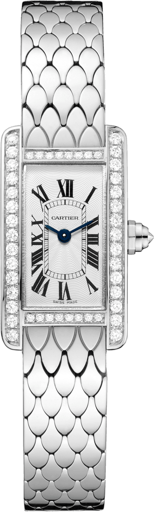 Tank Américaine watchMini, rhodiumized 18K white gold, diamonds
