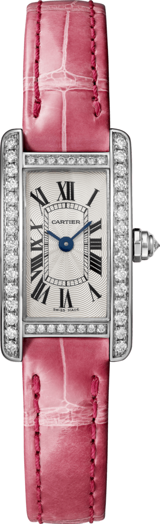 Tank Américaine watch Mini, rhodiumized 18K white gold, leather, diamonds