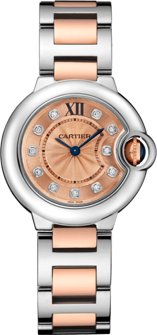 Ballon Bleu de Cartier watch 28 mm, 18K gold and steel, diamonds