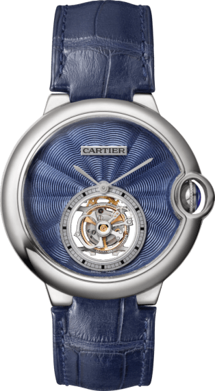 Ballon Bleu de Cartier Flying Tourbillon watch 39 mm, 18K white gold, leather