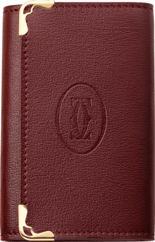 Must de Cartier Small Leather Goods, 6-key key ring Burgundy calfskin, golden finish