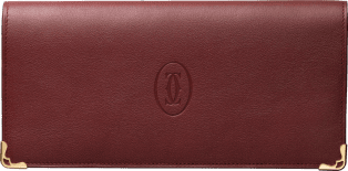 Must de Cartier Small Leather Goods, gusseted international wallet Burgundy calfskin, golden finish