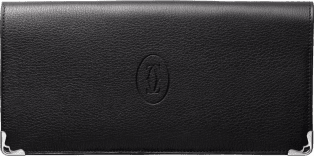 Must de Cartier Small Leather Goods, gusseted international wallet Black calfskin, stainless steel finish