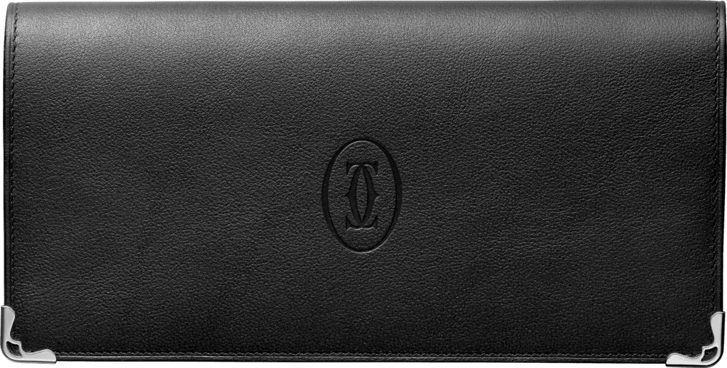 Must de Cartier Small Leather Goods, zipped international walletBlack calfskin, stainless steel finish