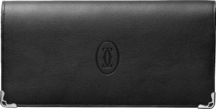 Must de Cartier Small Leather Goods, zipped international wallet Black calfskin, stainless steel finish