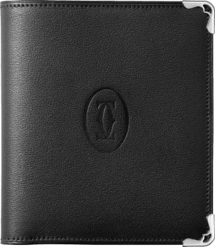 Must de Cartier Small Leather Goods, multiple wallet Black calfskin, stainless steel finish
