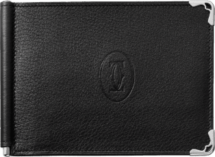 Must de Cartier Small Leather Goods, money clip Black calfskin, stainless steel finish
