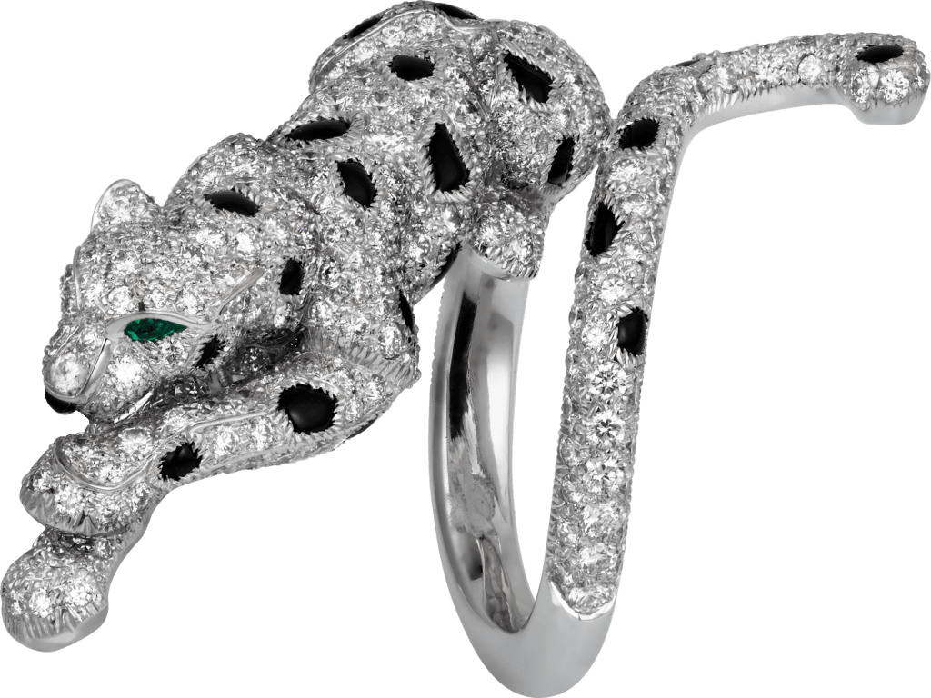 Panthère de Cartier ringWhite gold, emeralds, onyx, diamonds