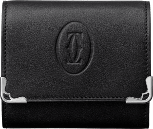 Must de Cartier Small Leather Goods, square coin purse Black calfskin, stainless steel finish