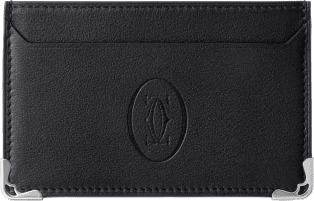 Simple Card Holder, Must de Cartier Black calfskin, stainless steel finish
