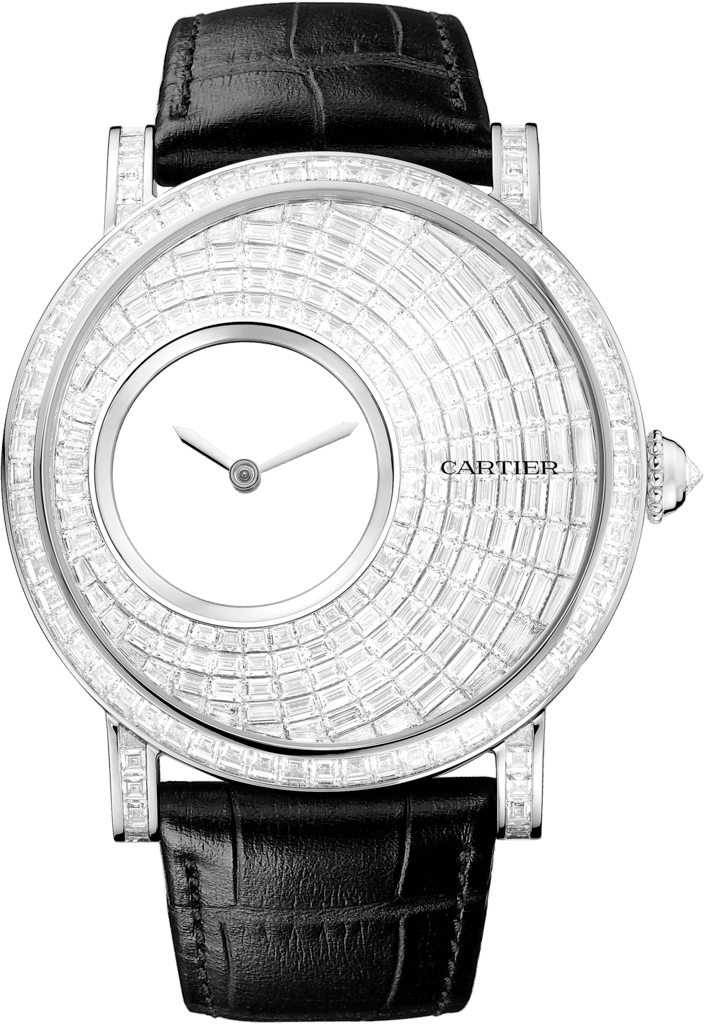 Rotonde de Cartier Mysterious Hour watch43.5 mm, rhodiumized 18K gold, rhodiumized 18K white gold, diamond