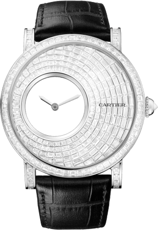 Rotonde de Cartier Mysterious Hour watch 43.5 mm, rhodiumized 18K gold, rhodiumized 18K white gold, diamond