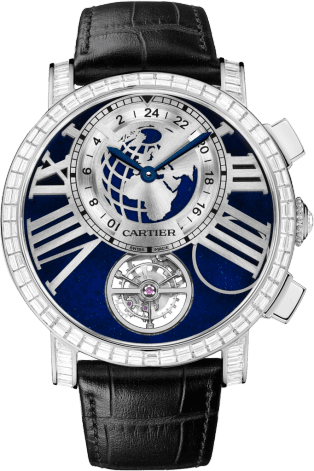 Rotonde de Cartier Earth and Moon watch 47 mm, platinum, leather, diamonds