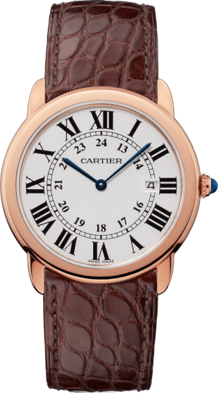 Ronde Solo de Cartier watch 36mm, quartz movement, pink gold, steel, leather
