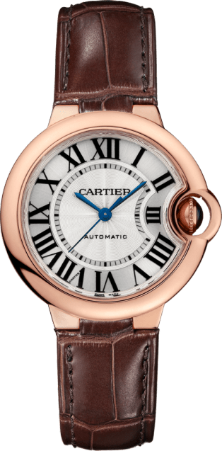 Ballon Bleu de Cartier watch 33 mm, 18K pink gold, leather