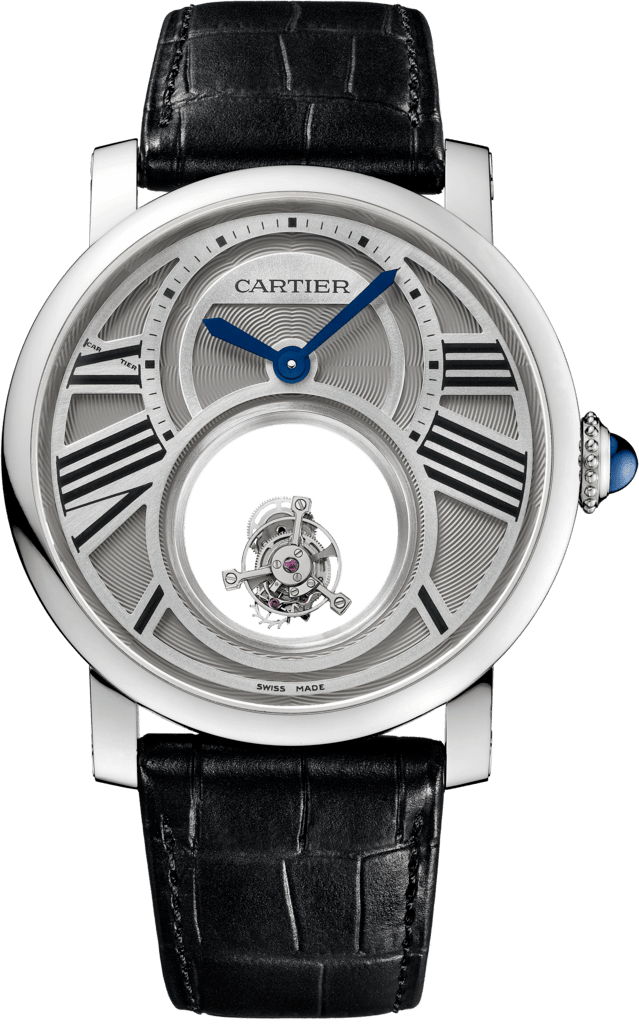 Rotonde de Cartier Mysterious Double Tourbillon watch45 mm, manual, platinum, leather