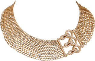 Agrafe necklace Pink gold, diamonds