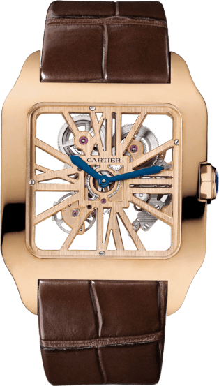 Santos-Dumont Skeleton watch XL, manual, pink gold, leather