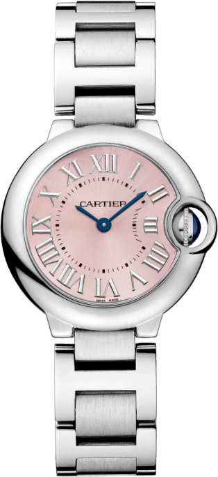 Ballon Bleu de Cartier watch 28mm, quartz movement, steel