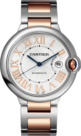 Ballon Bleu de Cartier watch 42mm, automatic movement, pink gold, steel