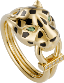 Panthère de Cartier ring Yellow gold, lacquer, diamonds, tsavorite garnet