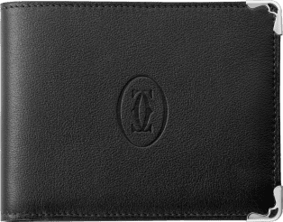 Must de Cartier Small Leather Goods, coin/banknote/credit card wallet Black calfskin, stainless steel finish