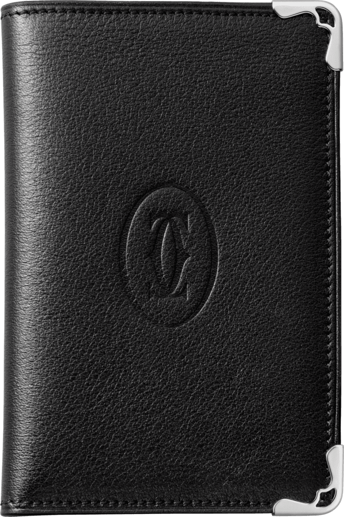 Must de Cartier Small Leather Goods, 4-credit card walletBlack calfskin, stainless steel finish