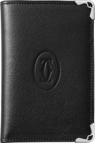 Must de Cartier Small Leather Goods, 4-credit card wallet Black calfskin, stainless steel finish