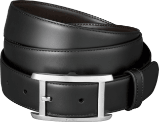 Tank Américaine belt Black cowhide, palladium-finish buckle