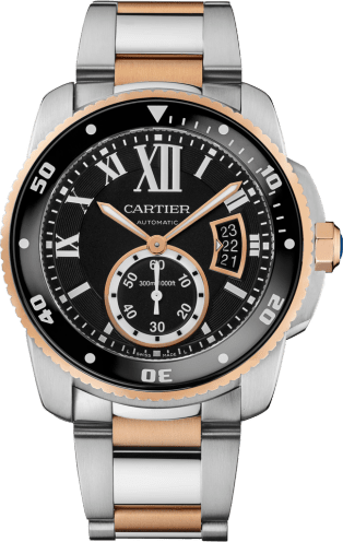 Calibre de Cartier Diver watch 42 mm, 18K pink gold, steel