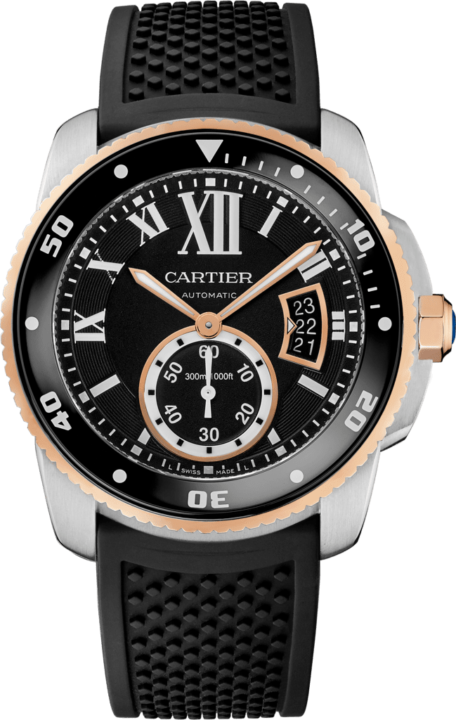 Calibre de Cartier Diver watch42 mm, 18K pink gold and steel