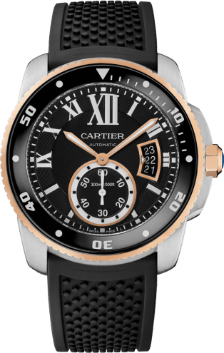 Calibre de Cartier Diver watch 42 mm, 18K pink gold and steel